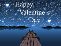 Happy Valentines day night water sky heart star Stock Images