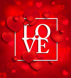 Happy Valentines Day On Red Background With Hearts Stock Images