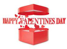 Happy Valentines day open gift box and flow hearts Stock Image