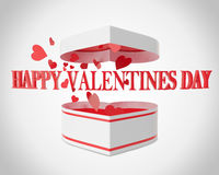 Happy Valentines day open gift box and flow hearts Royalty Free Stock Photos