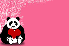 Happy Valentines Day Panda Bear Holding Heart Stock Photo