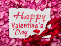 Free Happy Valentines Day Paper Frame With  Sweet Pink Roses  Petal Stock Photo - 89626670