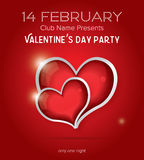 Happy Valentines Day Party Flyer Design Template. Royalty Free Stock Images