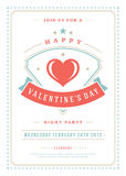 Happy Valentines Day Party Invitation or Poster Vector illustration. Stock Image