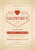Happy Valentines Day Party Invitation or Poster Vector illustration. Stock Images