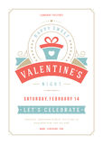Happy Valentines Day Party Invitation or Poster Vector illustration. Royalty Free Stock Image