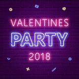 Happy Valentines Day Party 2018. Neon glowing text. Memphis elements. 80s Retro banner template. Vector illustration Royalty Free Stock Photography