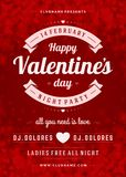 Happy Valentines Day Party Poster Design Template. Typography flyer invitation  illustration Royalty Free Stock Images
