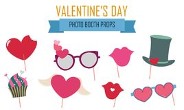 Happy Valentines day photo booth props icon set vector. Illustration. Collection of icons with hipster style and valentine celebration design elements Stock Photo