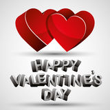 Happy Valentines Day phrase made with 3d letters and two red hea Stock Image