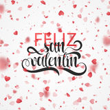 Happy valentines day. Phrase Spanish handmade. Feliz san valentin. Bright red hearts flying in the form of petals on a white background. Festive banner and Royalty Free Stock Image