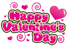 Happy Valentines Day. In pink and bubble font Stock Image