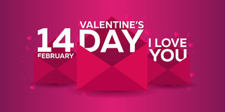 Happy Valentines Day. Pink envelope on pink background. Vector flat illustration. Happy Valentines Day. Pink envelope on pink background. Vector flat royalty free illustration