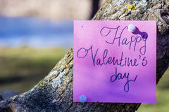 HAPPY valentines day pink greeting card hanging on a  tree Royalty Free Stock Images