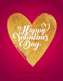 Happy Valentines Day Pink Lettering Gold Foil Heart Background Greeting Card Stock Image