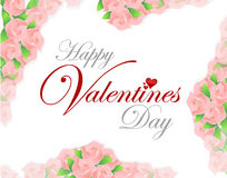 Happy valentines day pink roses card illustration Stock Photos