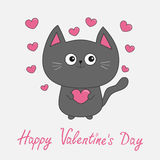 Happy Valentines Day pink text. Gray contour cat holding heart set. Cute cartoon character. Kawaii animal Pet collection. Greeting Royalty Free Stock Photo