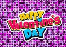 Happy Valentines Day pop art. Happy Valentine day heart comic text pop art advertise. Love Valentine`s comics book poster phrase. Vector colored halftone Stock Photo