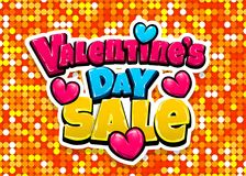 Happy Valentines Day pop art. Valentines Day Sale offer heart comic text pop art advertise. Love Valentine`s comics book poster phrase. Vector colored halftone Royalty Free Stock Photo