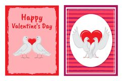 Happy Valentines Day Postcards with Doves Couples. Happy Valentines Day congratulation on festive postcards with doves couples and red heart between them Stock Images