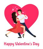 Happy Valentines Day Poster Boyfriend Girlfriend. Happy Valentines day poster boyfriend and girlfriend dancing tango, hearts over heads, happy couple in passion Royalty Free Stock Photo