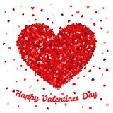 Happy Valentines Day poster or card template. Big heart from small hearts fall in love concept  illustration Royalty Free Stock Photography