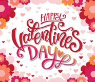 Happy Valentines Day poster ore invitation. Happy Valentines Day hand-drawn lettering holiday design to greeting card, poster, congratulate, text vector. Sample Royalty Free Stock Photo