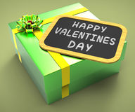 Happy Valentines Day Present Shows Romantic Royalty Free Stock Images