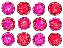 Happy valentines day prints. Vector stamps set - labels of happy valentines day Stock Illustration