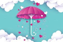 Happy Valentines day. Purple umbrella. Air with Love raining. Origami Heart Rain drop. Parasol. Happy Monsoon season Royalty Free Stock Photography
