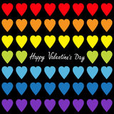 Happy Valentines day. Rainbow heart set. Gay flag color. Seamless Pattern. Wrapping paper, textile template. Lgbt sign symbol. Bla Royalty Free Stock Photography