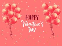 Happy Valentines Day. Realistic Balloons group. 3d ballon isolated on pink background. Romantic poster, greeting cards, headers, stock illustration