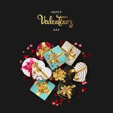 Happy valentines day realistic banner flat lay top view stock image