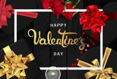 Happy valentines day realistic banner flat lay top view royalty free illustration