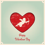 Happy Valentines Day. Realistic 3D Colorful Red. Old retro vintage grunge. Scratched, damaged, dirty effect. Flat vector illustration Royalty Free Stock Photography