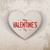 Happy Valentines Day realistic paper Heart Label Stock Photography