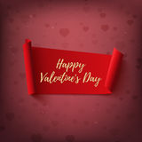 Happy Valentines Day, red, abstract banner on blurred background. Royalty Free Stock Photography