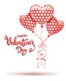 Happy Valentines Day. Red balloons and hand drawn lettering Royalty Free Stock Image