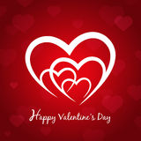 Happy valentines day red card with hearts symbol Stock Photo