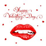 Happy Valentines Day with red female lips. Text Happy Valentines Day with red hearts and biting female lips isolated on white background, illustration Royalty Free Stock Image