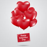 Happy Valentines Day, Red heart  balloons  colorful illustration Royalty Free Stock Images