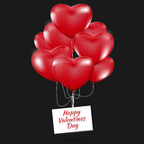 Happy Valentines Day, Red heart  balloons  colorful illustration Stock Image