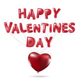Happy Valentines Day, Red heart  balloons  colorful illustration Royalty Free Stock Photos