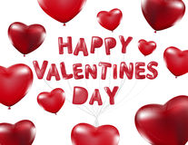 Happy Valentines Day, Red heart  balloons  colorful illustration Royalty Free Stock Photography