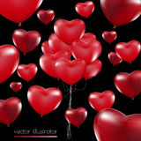 Happy Valentines Day, Red heart  balloons  colorful illustration Stock Photography