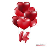 Happy Valentines Day, Red heart  balloons  colorful illustration Royalty Free Stock Image