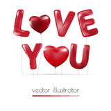 Happy Valentines Day, Red heart  balloons  colorful illustration Stock Photos