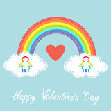 Happy Valentines Day. Red heart. Love card. Rainbow in the sky. Dash line cloud. Gay marriage Pride symbol Two woman silhouette LG Stock Photo