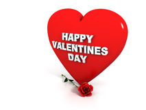Happy Valentines Day - Red heart and rose Royalty Free Stock Image