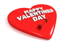 Happy Valentines Day - Red heart and rose Stock Image